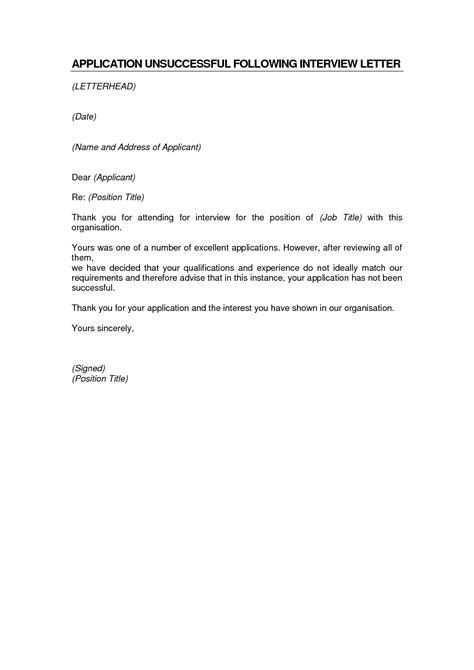 template of unsuccessful letter letter template for unsuccessful application juzdeco