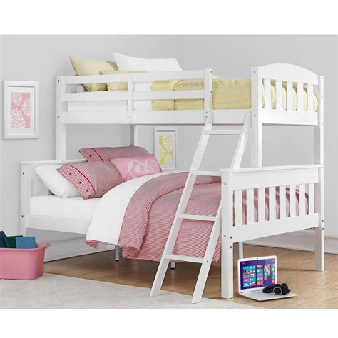 white bunk beds twin over full dorel living airlie twin over full white wood bunk bed fa7499w the home depot