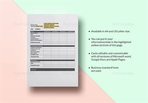 Sle Balance Sheet 18 Documents In Word Pdf Excel Quarterly Balance Sheet Template