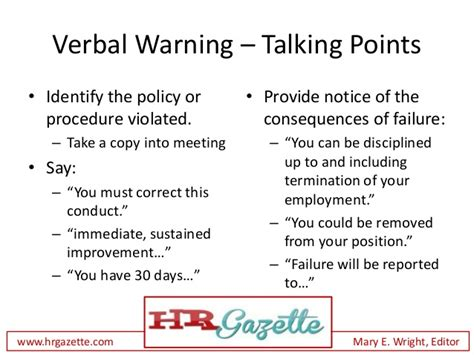 talking points template how to deliver a verbal warning to an employee plus