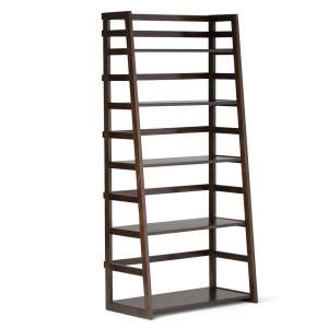 simpli home acadian 5 shelf wood ladder bookcase in