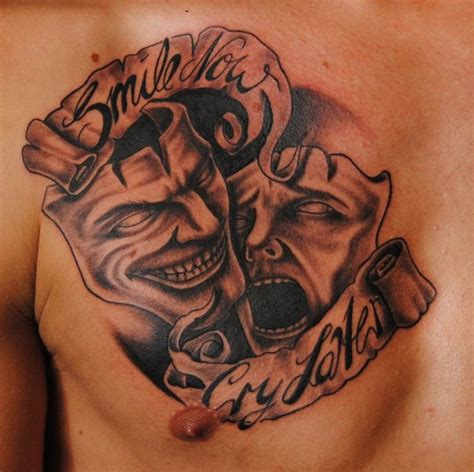 tattoo designs smile now cry later smile and cry mask of theather