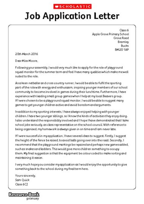 Application Letter Uk Writing Formally Exle Application Letter Free Primary Ks2 Teaching Resource Scholastic