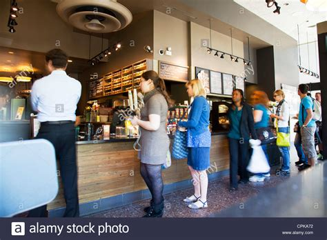 coffee shop in new york queuing in starbucks coffee shop in new york movement in