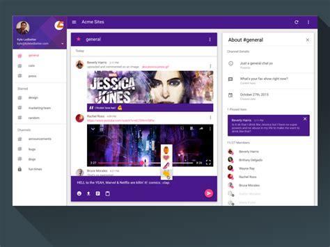 material design app video slack desktop app uplabs