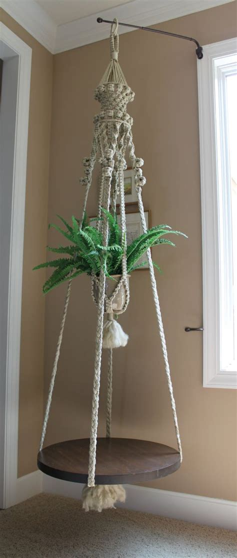 fabulous handmade hanging macrame plant holder and table