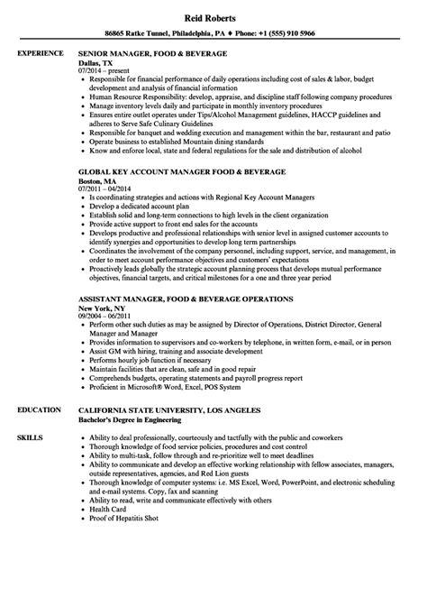 Beverage Director Sle Resume by Manager Food Beverage Resume Sles Velvet