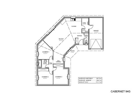 Plan De Maison Plein Pied En U plan maison plein pied 100m2 simple plan maison plain