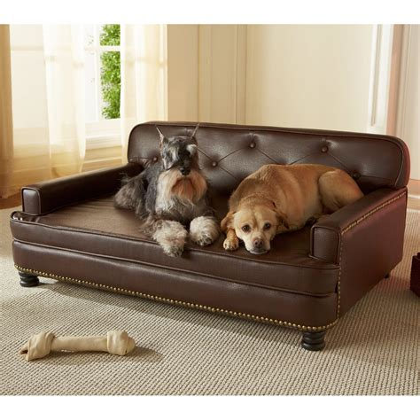 dog bed leather couch enchanted home pet library sofa pet bed brown pebble
