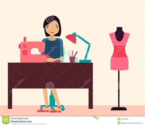 Workplace Seamstress Stock Vector Image: 51335033