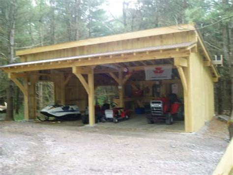 Raw Log Post And Beam Shed Roof Garage Google Search Plans For Building A Tractor Shed