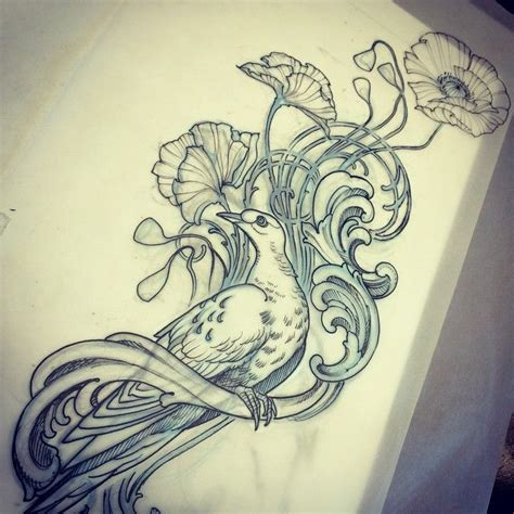 tattoo flash birds back to my roots today with flowers filigree and birds