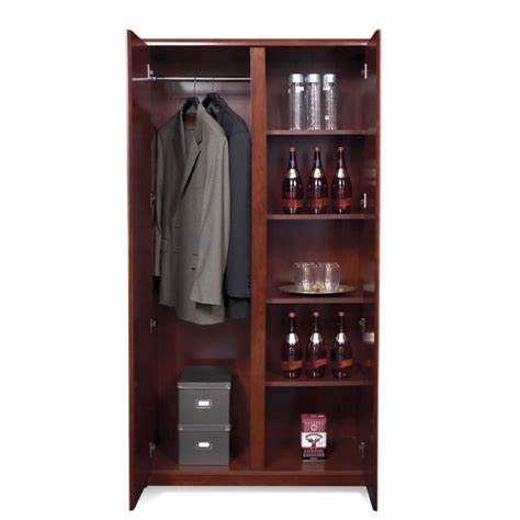 wardrobe cabinet w 4 shelves cherry wood