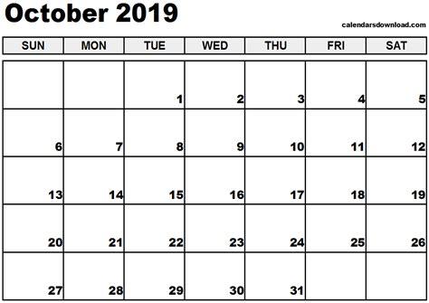 Calendar 2019 October October 2019 Calendar