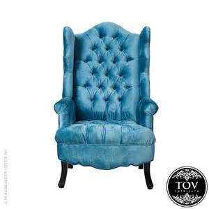 blue velvet wing chair tov furniture modernoutlet