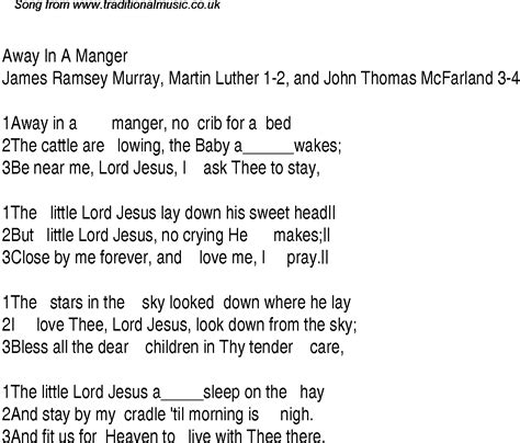 printable lyrics for away in a manger away in a manger christian gospel song lyrics and chords