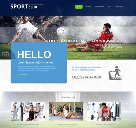 sports club template 30 sports website themes templates free premium