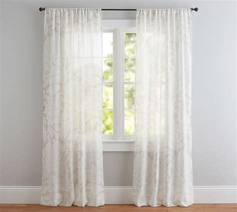 sheer curtains pottery barn damask printed sheer drape pottery barn