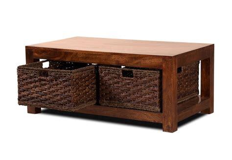 Coffee Table Baskets Dakota Mango Large Coffee Table With Baskets Casa Furniture Uk