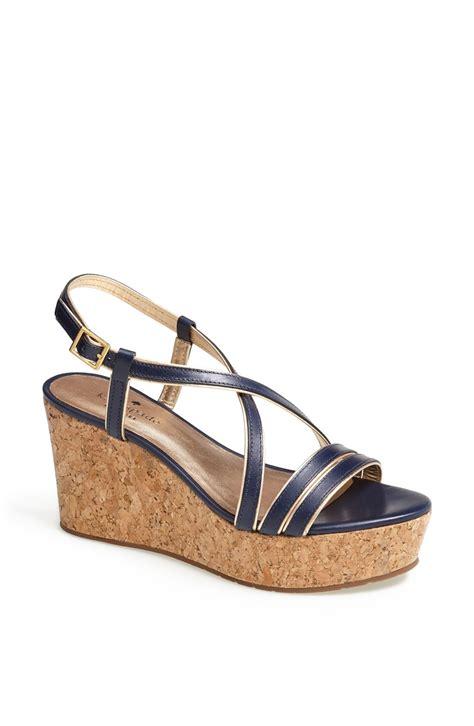 Sandal Wedges Kate Spade kate spade tender wedge sandal in blue navy vacchetta