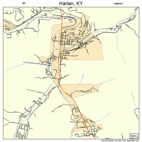 kentucky map harlan county harlan county ky map images