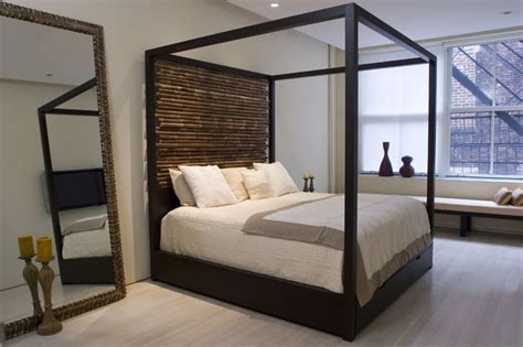 modern canopy beds canopy bed with hand tied bamboo headboards modern