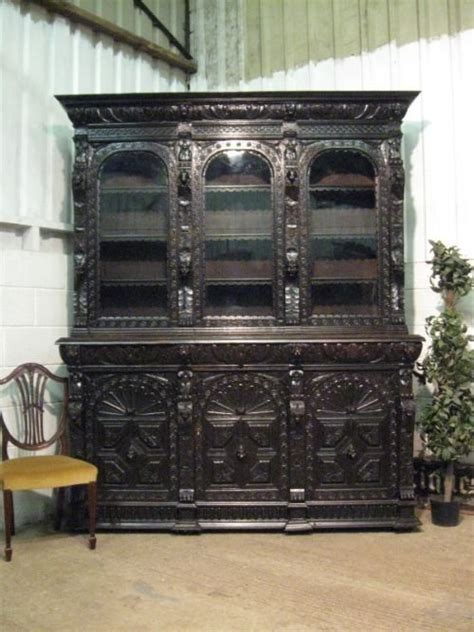 Superb Large Antique Victorian Carved Oak Library Bookcase