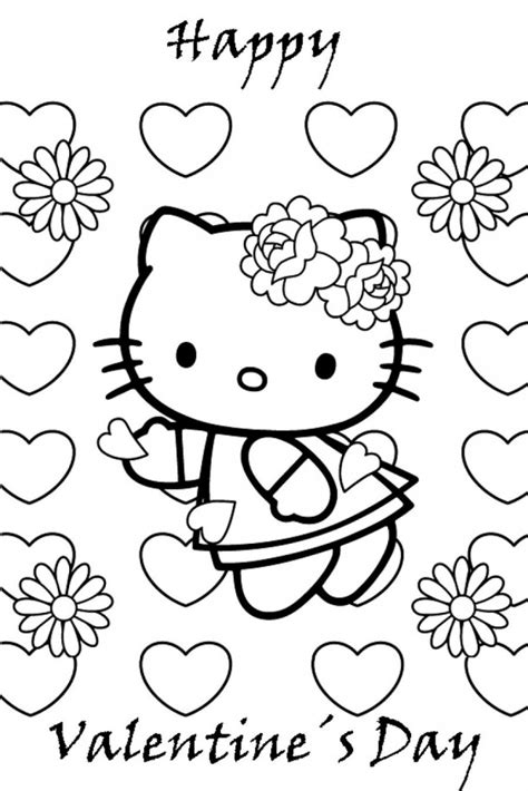 Free Hello Kitty Valentines Day Coloring Pages | hello kitty valentine coloring pages az coloring pages