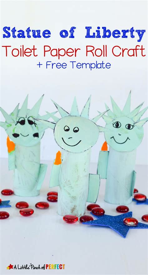 Free Toilet Paper Roll Crafts - statue of liberty toilet paper roll craft and free