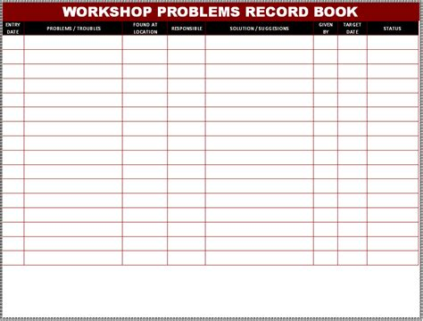 problem record template workshop problem record book format sles word