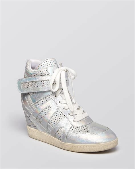 lace up wedge sneakers ash lace up wedge sneakers beck in metallic lyst