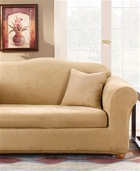 sure fit stretch faux suede 2 sofa slipcover