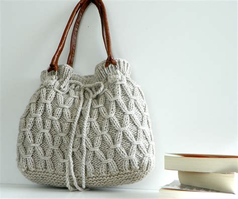 knit bags bag nzlbags beige ecru knitted bag handbag shoulder bag