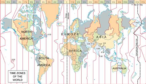 Map Of The Time Zones by World Time Zone Map