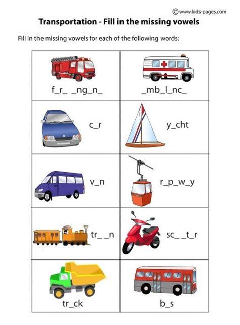 kindergarten themes esl transportation fill in worksheets