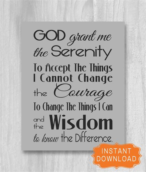 printable version of the serenity prayer serenity prayer sign printable grey black print instant
