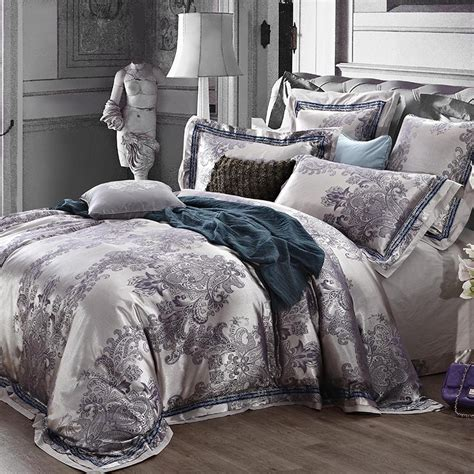 Luxury jacquard satin silver grey wedding bedding comforter sets king queen size duvet cover