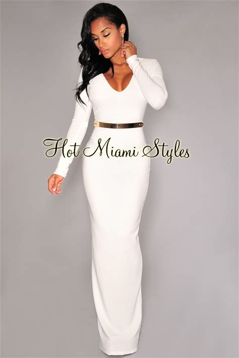 Sleeve Belted Dress white sleeves belted gown
