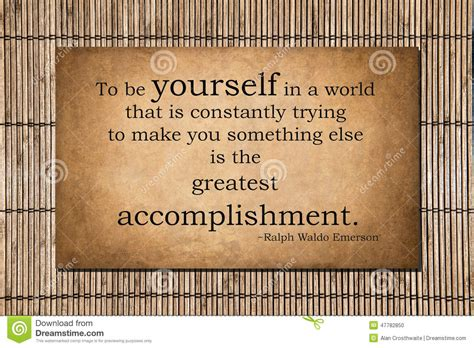 the greatest accomplishment emerson quote stock photo image 47782850