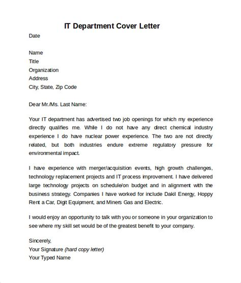 Department Cover Letter information technology cover letter template 8