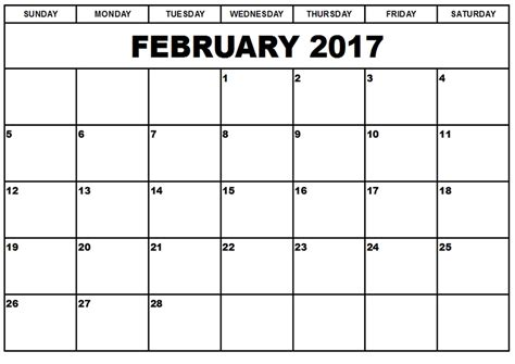 Febuary Calendar February 2017 Monthly Calendar Printable Templates