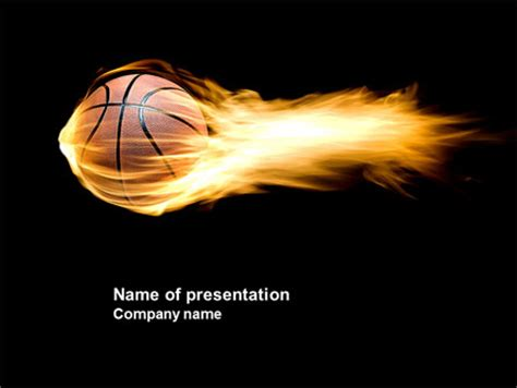 flaming basketball presentation template for powerpoint