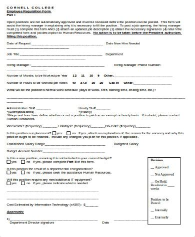 personnel requisition form template staff requisition form sle related keywords