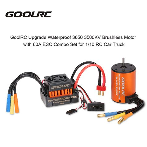 rc boat motors waterproof goolrc waterproof 3650 3500kv brushless motor 60a esc