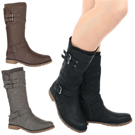 biker riding boots womens shoes ladies mid calf low heel winter sock riding