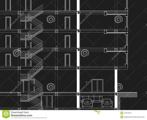 Drawing Z In Autocad by Cad Architectural Drawing Blueprint Stock Illustration