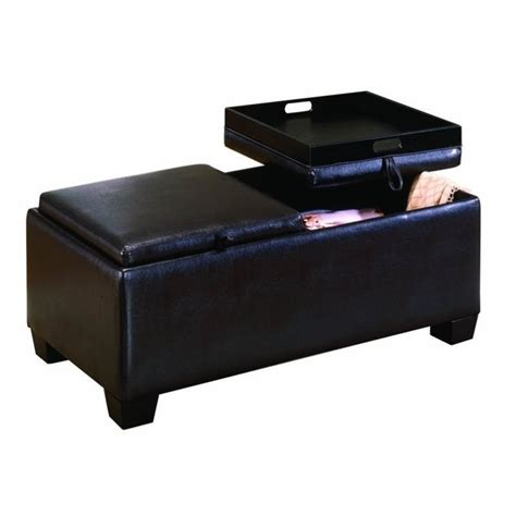 espresso ottoman storage trent home rectangular faux leather storage bench ottoman