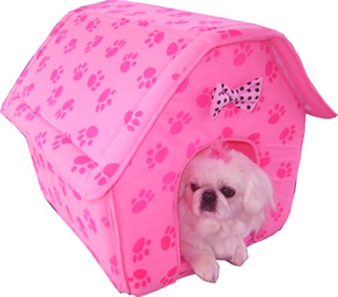dog house pink collapsible dog cat paw prints house