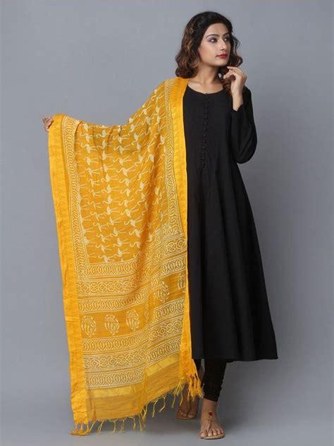 yellow stork printed bhagalpuri silk dupatta dressing