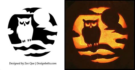 owl pumpkin carving templates 10 free scary cool pumpkin carving stencils